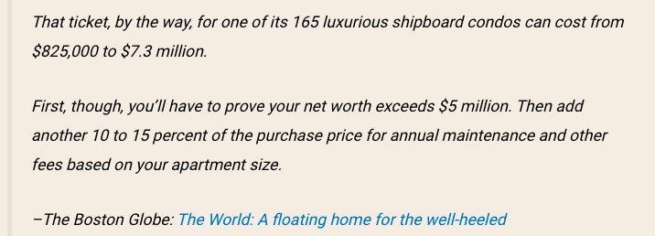 You need at least 5M net worth to set foot on this ship.